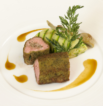 Herb Crusted Lamb Rosette With Guérande Salt Courgette And Artichoke Cannelloni Le Guérandais